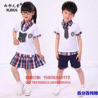 夏季新款小学生幼儿园园服订做儿童格子衬衣短袖短裤纯棉套装批发