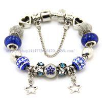 速卖通饰品货源 精美镶嵌水晶大孔琉璃珠手链  随意搭配潘多拉款