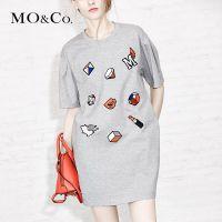 MO&Co.短袖连衣裙女春装欧美休闲字母套头连身裙MA151SKT12moco
