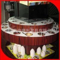 热卖 全国连锁火锅店专用酱料台 圆形双层大理石调料台 厂家订做