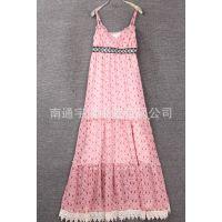 新款2015夏装女装雪纺碎花亮珠珠吊带连衣裙长款II24