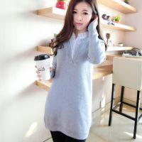2015韩版假两件套毛衣 套头春装新款中长款针织打底衫上衣 女
