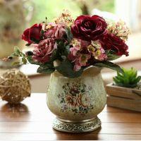 【橡树庄园】欧式高档仿真花玫瑰单把新娘手捧花婚庆套装饰花摆件