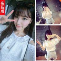 一件代发2015韩版新款甜美百搭荷叶边气质露肩上衣女