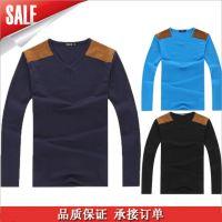 供应S109男装一件代发 新款长袖男t恤 男士t恤 个性拼接男打底衫 潮