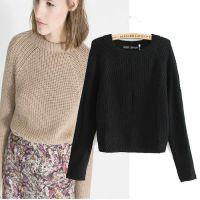 2014秋冬新款 欧美风糖果色显瘦短款毛衣针织衫 女打底衫