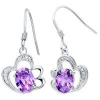 925纯银耳饰 外贸饰品 时尚高档耳环 紫晶石耳钩 出口尾货