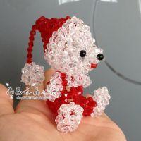 【圣诞小熊】小红帽水晶泰迪熊 实体批发热卖 diy水晶串珠挂件