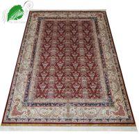 亿丝厂家客厅卧室手工真丝波斯地毯红色欧式高档丝毯183x273cm