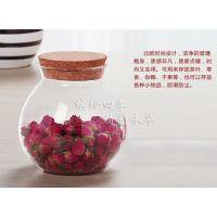 一罐多用美观实惠厂家直销玻璃花茶罐/厨房储物罐/密封罐/软木塞茶叶罐