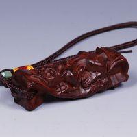 印度小叶紫檀貔貅手把件貔貅如意 木雕工艺品 挂件/文玩收藏
