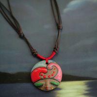 部落美人脸彩绘土陶项链 田园波西米亚新款纹刻陶瓷吊坠