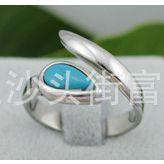 不锈钢戒指批发 高档戒指镶绿松石 优雅大气