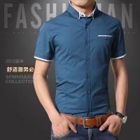 2015GUEQI新款 休闲 100%纯棉流行拼色 青年男士夏季透气短袖衬衫