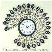 现代客厅欧式挂钟创意客厅大号钟个性艺术铁艺钟表时尚孔雀表
