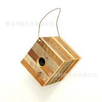 【热销】正方形木质喂鸟器 创意家居挂件鸟巢 量大从优