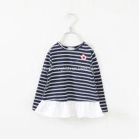 2014秋装新款女童条纹T恤打底衫韩版童装儿童裙衫配别针拼接款