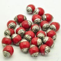 厂家热销尼泊尔铜珠手工diy佛珠配件 纯铜包边蜜蜡绿松石散珠批发