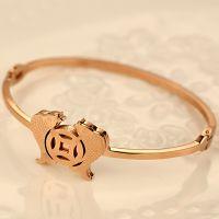 18K玫瑰金双鱼古钱手镯 民族个性复古时尚钛钢饰品礼物