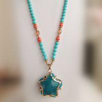 天然石 水晶 马来玉 砗磲 绿松石 合金树脂钱袋 串珠 长项链