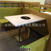 火锅烧烤一体桌韩式无烟烧烤桌椅厂家直销大理石火锅桌