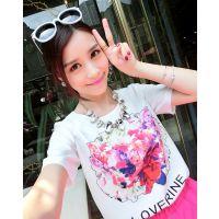 小银子2015夏装新款简约印花图案舒适显瘦雪纺短袖T恤女T4207