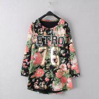 A.Y--TI 韩版新款纯棉大花绣字母长袖毛圈T恤 秋季中长上衣打底衫