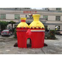 创锦鸿工艺供应商场游乐区城堡造型滑梯玻璃钢雕塑