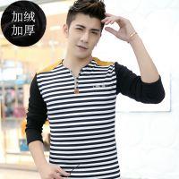 新款纯棉男士加绒加厚t恤秋冬长袖V领条纹修身韩版青少年打底衫潮