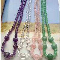 天然紫水晶项链爱心绿东陵玉心形粉晶爱心项链白水晶项链正品天然