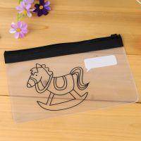 C04-1-03 创意 透明小马拉边文件夹 pvc学生笔袋收纳袋批发厂家