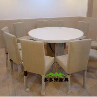 石英大理石餐桌 圆形餐桌 酒店餐桌 高级餐厅餐桌 饭堂餐桌定制