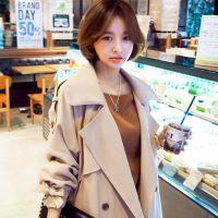 2015东大门品牌女装 韩版翻领收腰女式风衣女式中长款大衣外套女