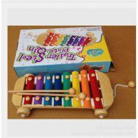 出口日本ED.INTER拖拉八音木制敲琴 打击乐器玩具1-2-3岁宝宝礼物
