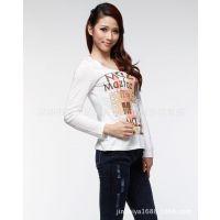 厂家直销 时尚欧美修身型全棉女装T恤 打底衫长袖 2015春装上衣