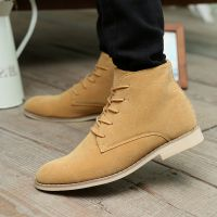冬季男士保暖高帮休闲皮鞋尖头马丁靴韩版潮流男鞋子英伦高帮男靴