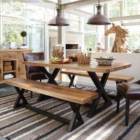 山东创客咖啡厅实木餐桌 济南铁艺做旧美式饭桌 青岛复古小户型餐桌椅组合