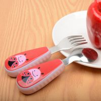新款卡通动物创意304不锈钢儿童勺礼品餐具情侣叉勺两件套礼品