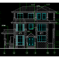 西班牙风格带旋转楼梯豪华宫殿式小洋楼户型图15.6x12.2米