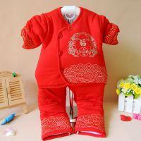 汤博士冬季新款婴幼儿新生儿服装加厚童大红棉衣童套装一件代发