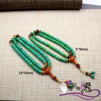 厂价手饰批发 扁珠优化绿松石108颗佛珠手链 藏式佛珠批发
