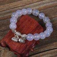 天然水晶蓝玉髓纯手工手串 水晶手链 热销产品纯银首饰 银饰批发
