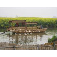 手工高低篷木船 仿古旅游船 观光船乌篷船景区中式玻璃钢休闲客船