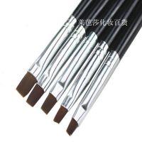 批发美甲笔刷 5支一套黑杆光疗刷光疗笔排笔套装 法式光疗甲适用
