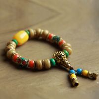 民族饰品批发天然藏式牛骨尼泊尔手工铜珠手链佛珠男女手串 E-136