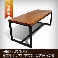 美式乡村餐桌餐饮家具铁架橡木桌 橡木loft铁艺实木复古餐桌面厂