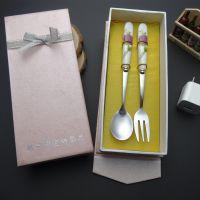 餐饮用具套装粉红特质纸盒玫瑰陶瓷不锈钢勺叉两件套套装餐具