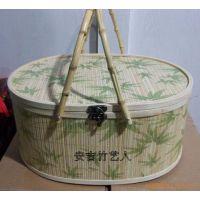 厂家批发直销椭圆形印花竹篮 竹包装 水果篮 粽子包装篮 鸡蛋篮