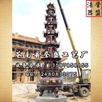 (图)誉盛法器 寺庙七层大宝鼎 现场安装组图