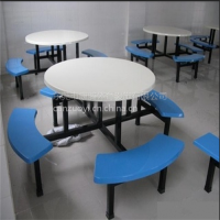 供应八人位玻璃钢连体快餐桌椅组合 餐厅食堂凳面餐台椅特价批发